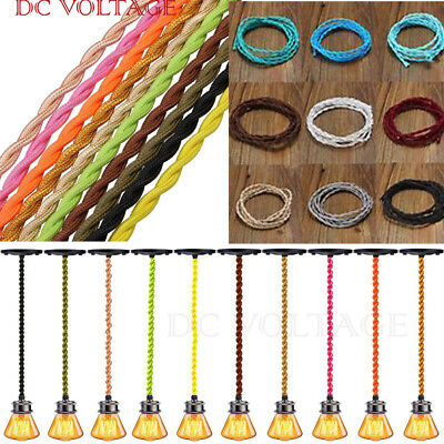 2 core Twisted Silk Braided  Vintage Fabric Coloured Lighting Cable Flex 0.75mm