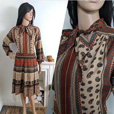 Vintage Peggy French 60s 70s Paisley Geo Pussybow Pleated Dress 12 40