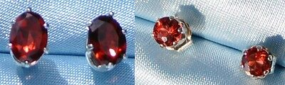 Garnets---2 Pair Of Petite Dark-Red- Sterling Studs- 4Mm Round &  6Mm X 4Mm Oval