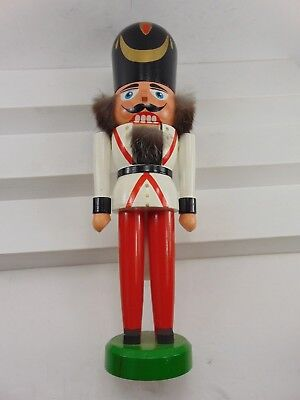 "Vintage Prussian Soldier Nutcracker Erzgebirgische Volkskunst Germany 9"" Tall"