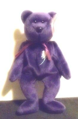 1997 Princess Diana Bear: BEANIE BABIES-Space on Swing Tag-Plastic Pellets/Poly