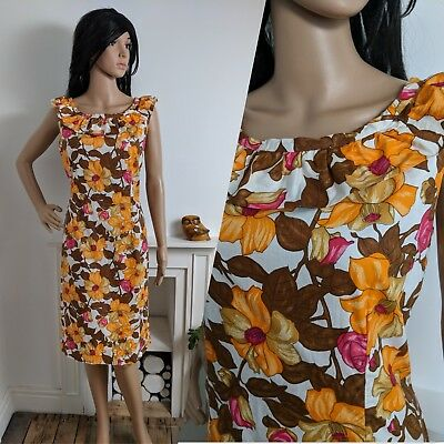 Vintage 60s 70s Frilly Flower Power Lily Daisy Cotton Shift Dress 14 42
