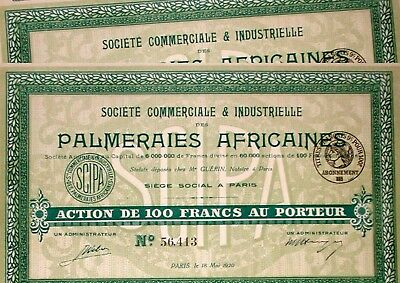 2 x Palmeraies Africaines (Aktie 100 Fr.), Charles Crabbe