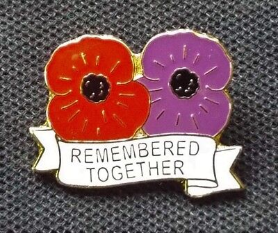 'Remembered Together' Badge, Red & Purple Poppies Honouring People & Animals