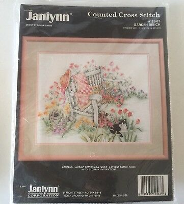 Janlynn Counted Cross Stitch Embroidery Kit Garden Bench #125-87 Complete Unused
