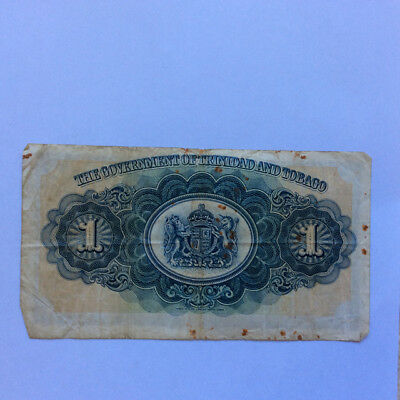 Trinidad and Tobago one dollar note 2nd Jan 1939