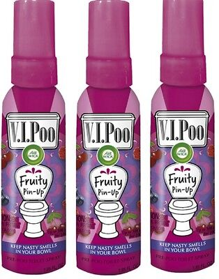 Air Wick V.I.Poo Pre-Poo Toilet Spray VALUE PACK Fruity Pin Up 3x Air Fresheners