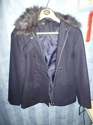 Girl's M&Co 'Kylie' navy blue winter coat / jacket – age 11 – NEW