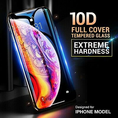 10D Full Cover Tempered Glass Screen Protector For iPhone X XS Max XR Black