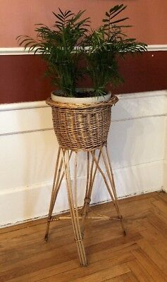 Vintage Rattan Bamboo Wicker Woven Basket Fern Planter Plant Holder Stand 28.5""