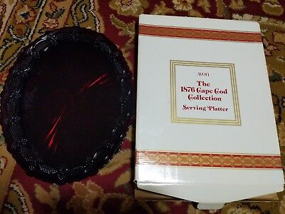 Vintage AVON 1876 Cape Cod Collection Ruby Red Oval Serving Platter 13.5""