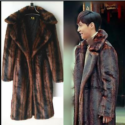 Mens Luxury Mink Fur Winter Overcoat Long Warm Furry Thicken Parka Outwear Chic