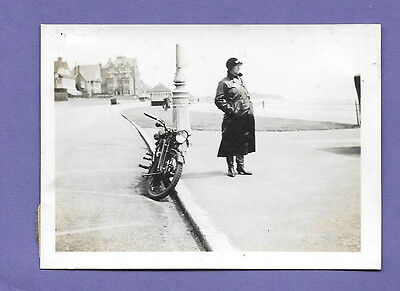 BEXHILL ON SEA SUSSEX 1935 ORIGINAL VINTAGE OLD MOTORCYCLE PHOTO 8x6cm SO