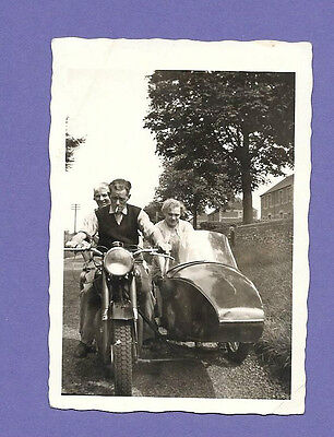 EARLY MOTORCYCLE & SIDECAR ORIGINAL VINTAGE OLD PHOTOGRAPH 9x6cm SS2