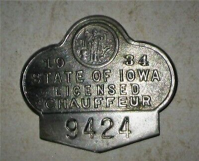 IOWA Licensed CHAUFFEUR Driver BADGE Pin 1934 Excellent Cond.
