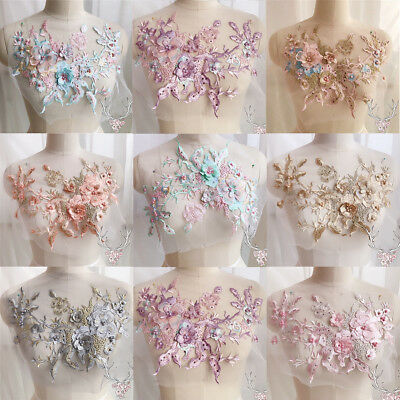 3D Flower Lace Embroidery Bridal Beaded Applique DIY Pearl Tulle Wedding Dress
