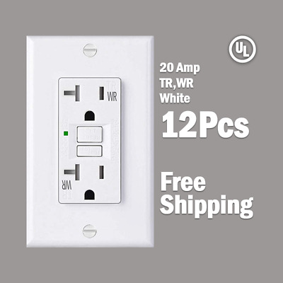 20 AMP GFCI -12 Pcs - White Receptacle Outlet -TR & WR SELF TEST 2015 UL