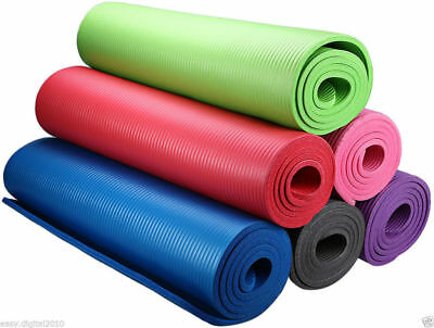 Thick Yoga Mat Pad Nonslip Exercise Fitness+Strap Durable Pilates Free shipping