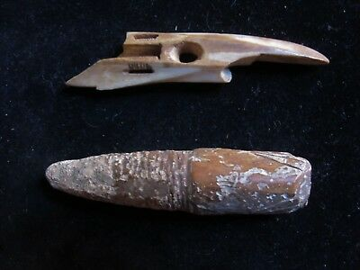 INUIT ARTIFACTS fossilized  harpoon forestaft and fossilized harpoon point