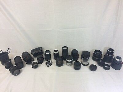 Lot of (18) Vintage Camera Lenses and Converters