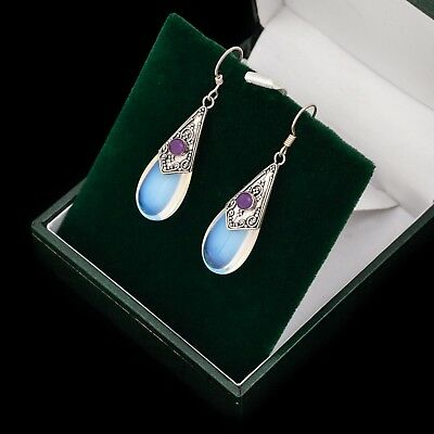 Antique Vintage Deco Sterling Silver Pools of Light Iridescent Glass Earrings