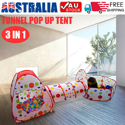 3 in 1 Childrens Toddlers Kids Pop Up Play Tent Tunnel Cubby House Indoor Play