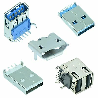USB Connector Plug Socket Male Female Type A B Micro PCB 2.0 3.0