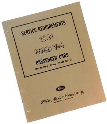 1941 FORD V-8 Service Requirements BOOK for Passenger Cars incl. Army Staff Cars