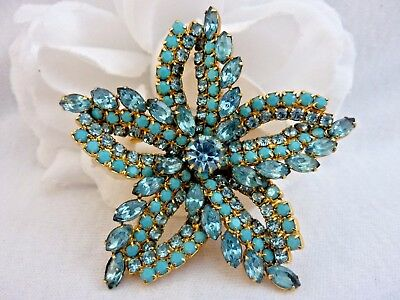 Vintage 1950's Mid Century Turquoise Blue Rhinestone & Glass Layered Pin Brooch