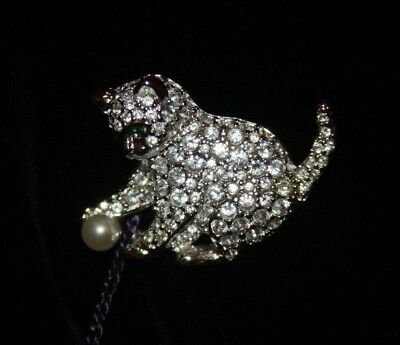 Signed Swarovski Pave' Crystal Cat With Ball Pin / Brooch Retired New
