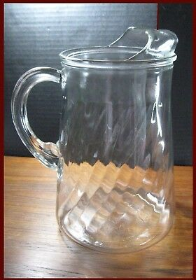 MID-CENT MOD BLOWN GLASS SWIRLED PATTERN BEVERAGE PITCHER c.60's by IN Glass Co.