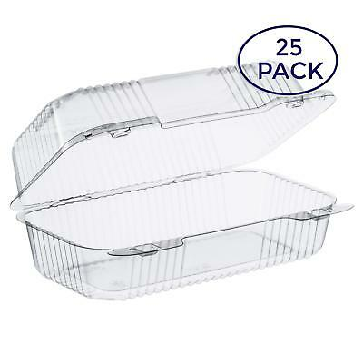 """""""Dart Clear Hinged Lid Plastic Container 9""""""""x 5 3/8"""""""" x 3 1/2"""""""" 25"""""""