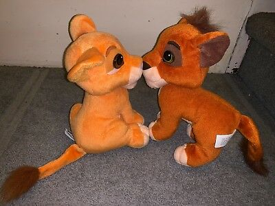 "DISNEY Plush THE LION KING 9"" Kissing KOVU & KIARA Mattel RARE Cub 1998"