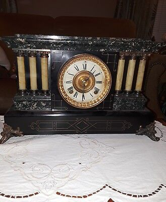 "ANTIQUE Ansonia ""Sheffield"" Style Mantle CLOCK"