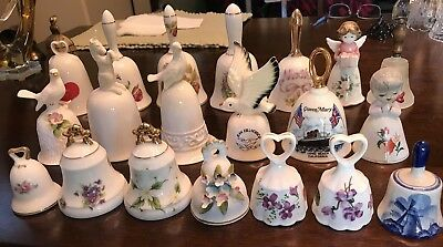 Lot of 20 Collectible Ceramic Bells Assorted Designs Vintage