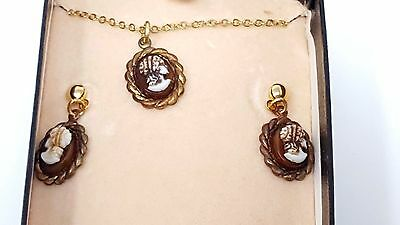 Vintage Lady Face Cameo Necklace Pierced Earrings gold tone set