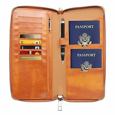 Faux Leather  Wallet  Passport Cards Cash Documents Boarding Pass Brown Gift Box