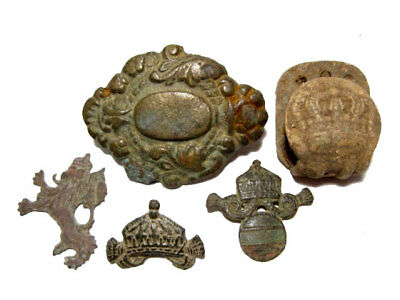 LOT of 5 pcs. INTERESTING ANTIQUE MILITARY INSIGNIA AND MOUNTS, AS FOUND!!!