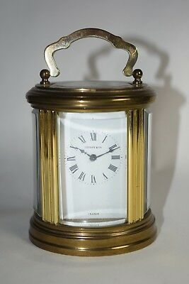Antique Miniature Tiffany Oval French Carriage Clock L'Epee