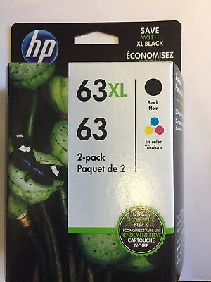 GENUINE HP 63XL Black & HP 63 Tri-Color Ink COMBO PACK NEW (Expires 9-2020)