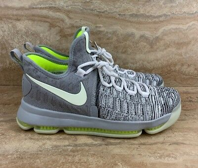 ebb4e911b9b0 Nike ID KD 9 Size 10.5 Basketball Shoes White Gray Neon Glow In The Dark