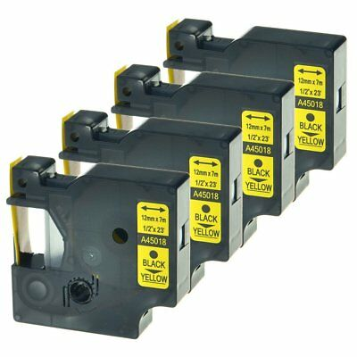 4PK Compatible DYMO 45018 D1 Label Tape 12mm Black on Yellow LabelManager 12mm