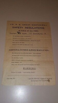 Wwi Uss Great Northern Troop Transport Ship Safety Regulations Sheet-3 Day N/r