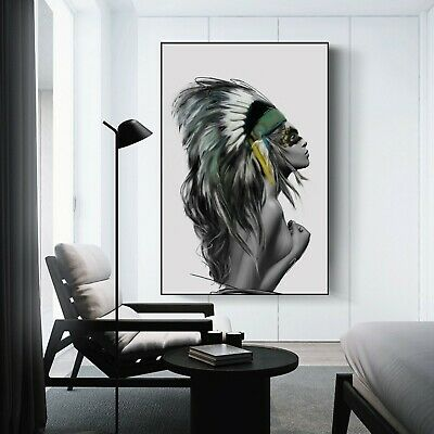 Native American Indian Girl Framed Canvas Wall Art Print Wall Home Decor