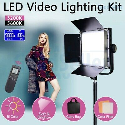 Stepless Dimmable Bi-Color LED Video Lighting+Reverse Light Stand Photo Studio
