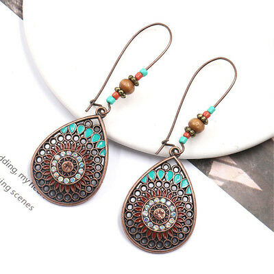 1 Pair Vintage Bohemian Boho Ethnic Antique Oval Water Drop Dangle Earrings