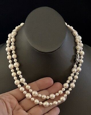 """CERTIFIED $7,900 Akoya Pearl & Diamond Necklace 8.7 Mm 37"""" 14kt White Gold 15975"""
