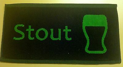 Free Shipping - Pub/Bar Towel - Beer - Stout - Green on Black