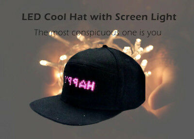LED Screen Light Cool Hat Smartphone Controlled Waterproof Baseball Cap