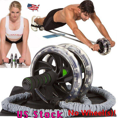 1Pc Ab Roller Wheel Pull Rope Waist Abdominal Slimming Fitness Equipment Gym US